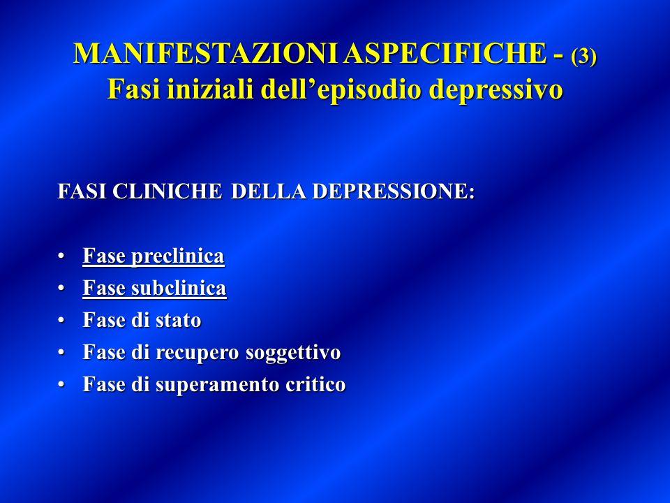 MANIFESTAZIONI ASPECIFICHE - (3) Fasi iniziali dell'episodio depressivo
