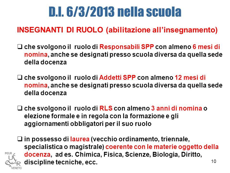 D.I. 6/3/2013 nella scuola INSEGNANTI DI RUOLO (abilitazione all'insegnamento)