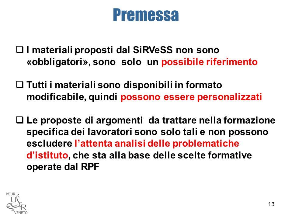 Premessa I materiali proposti dal SiRVeSS non sono «obbligatori», sono solo un possibile riferimento.
