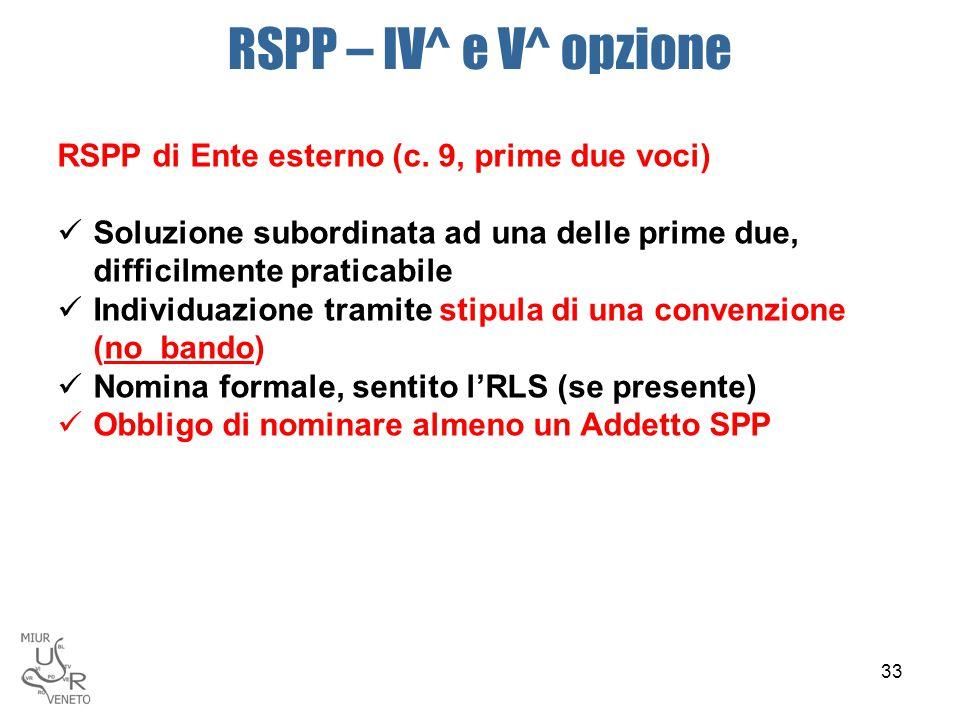 RSPP – IV^ e V^ opzione RSPP di Ente esterno (c. 9, prime due voci)