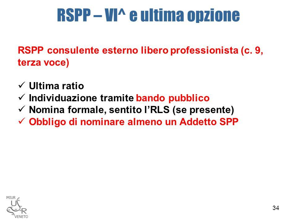 RSPP – VI^ e ultima opzione