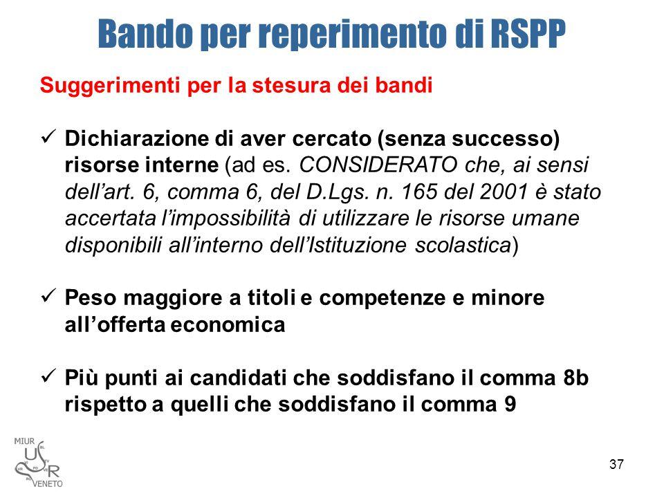 Bando per reperimento di RSPP