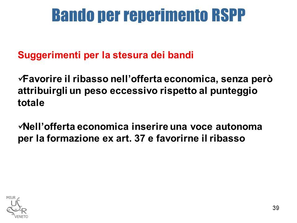 Bando per reperimento RSPP