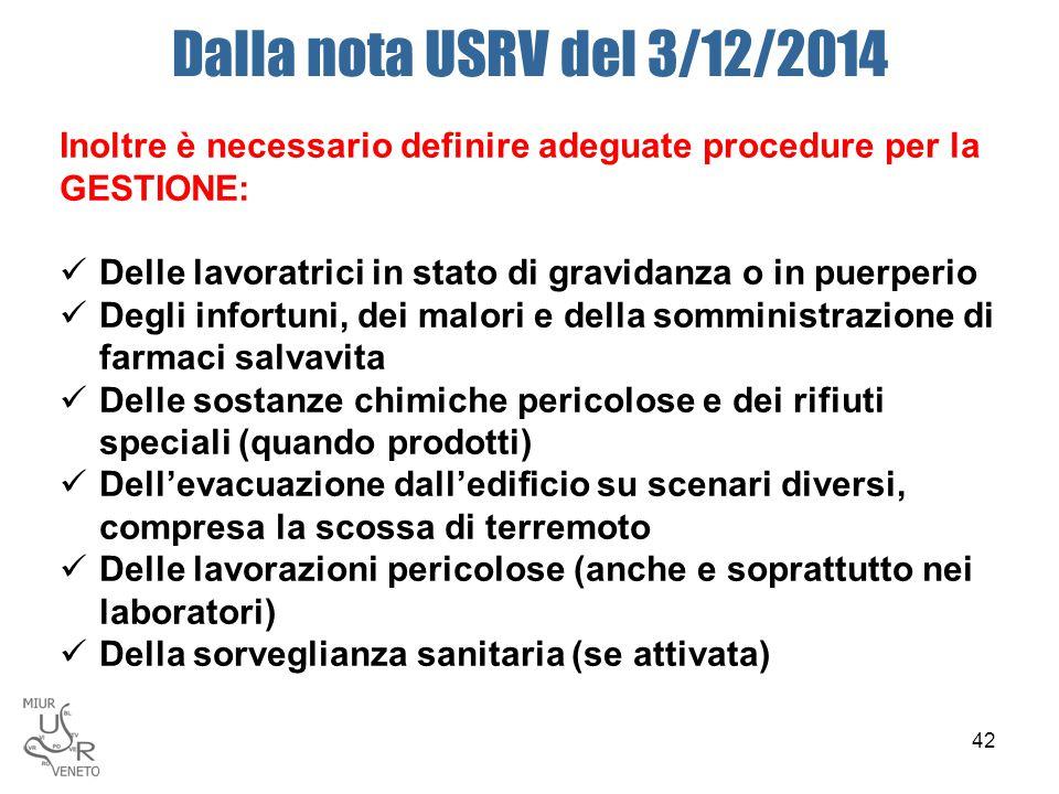 Dalla nota USRV del 3/12/2014 Inoltre è necessario definire adeguate procedure per la GESTIONE: