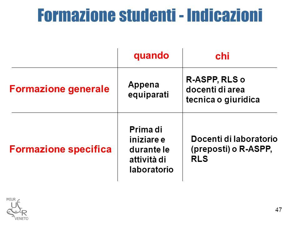 Formazione studenti - Indicazioni