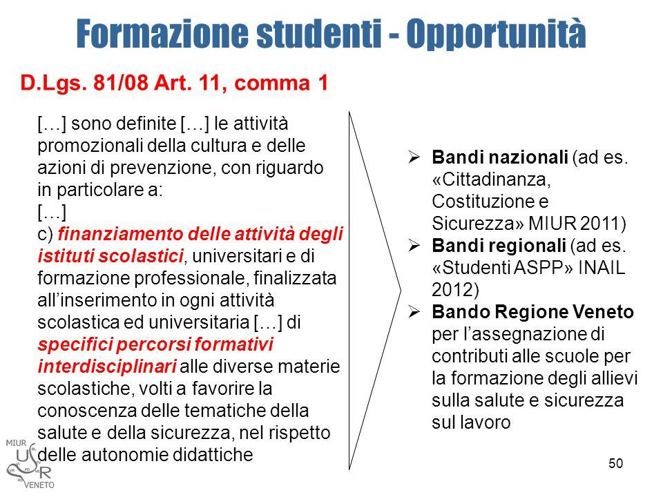 Formazione studenti - Opportunità