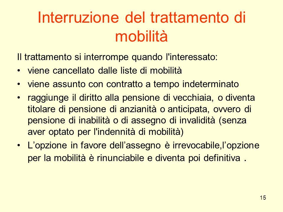 Interruzione del trattamento di mobilità