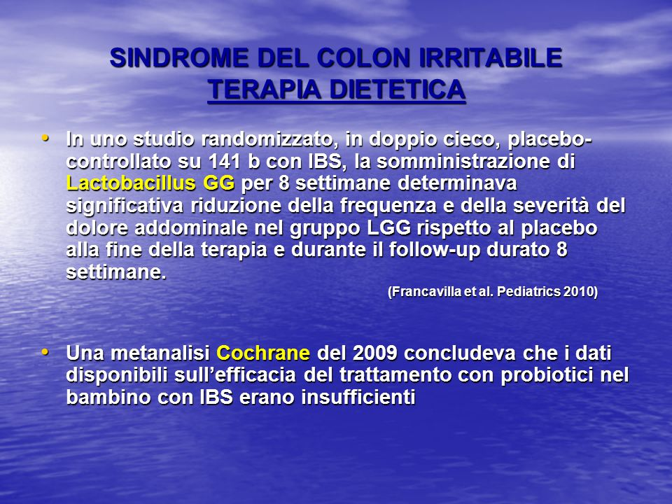 SINDROME DEL COLON IRRITABILE TERAPIA DIETETICA