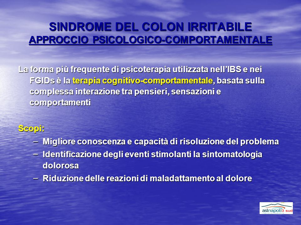 SINDROME DEL COLON IRRITABILE APPROCCIO PSICOLOGICO-COMPORTAMENTALE