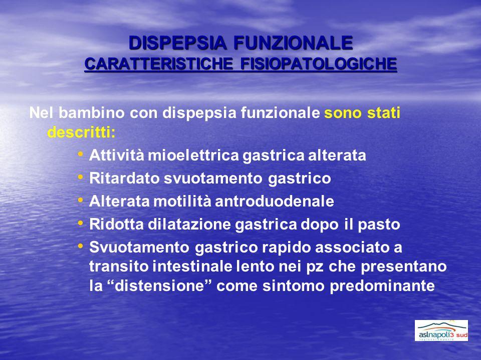 DISPEPSIA FUNZIONALE CARATTERISTICHE FISIOPATOLOGICHE