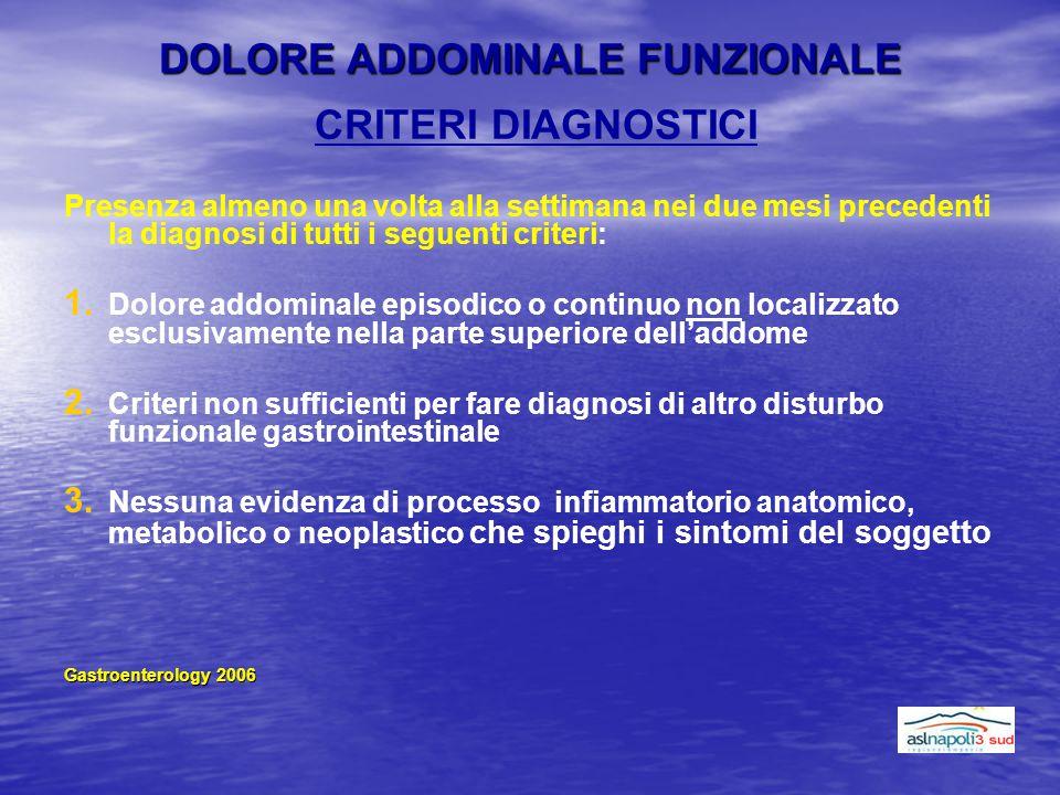 DOLORE ADDOMINALE FUNZIONALE CRITERI DIAGNOSTICI