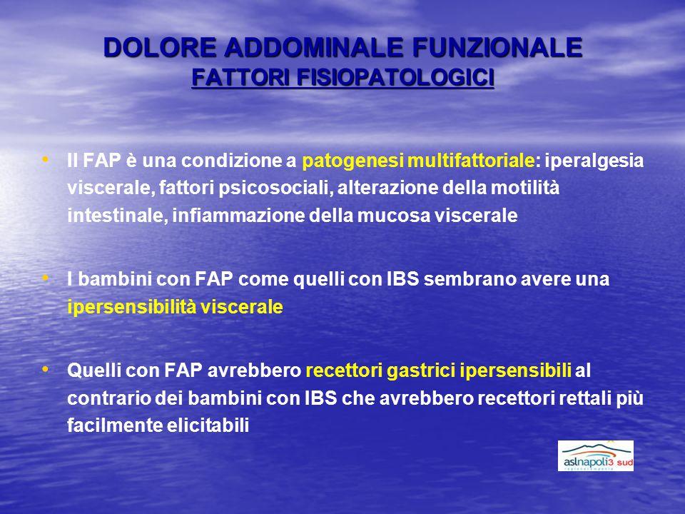 DOLORE ADDOMINALE FUNZIONALE FATTORI FISIOPATOLOGICI