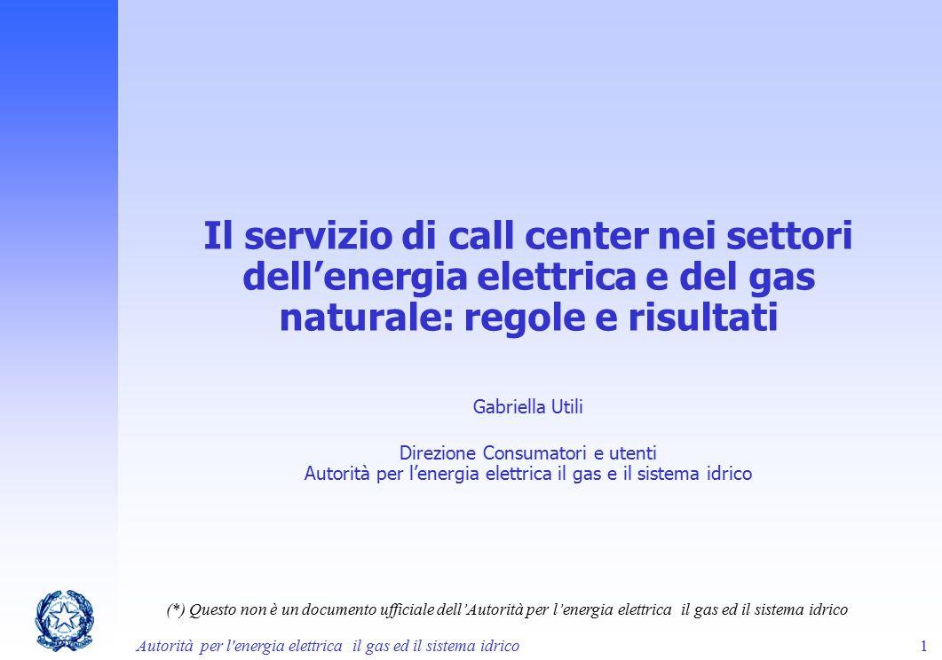 Il servizio di call center nei settori dell'energia elettrica e del gas naturale: regole e risultati