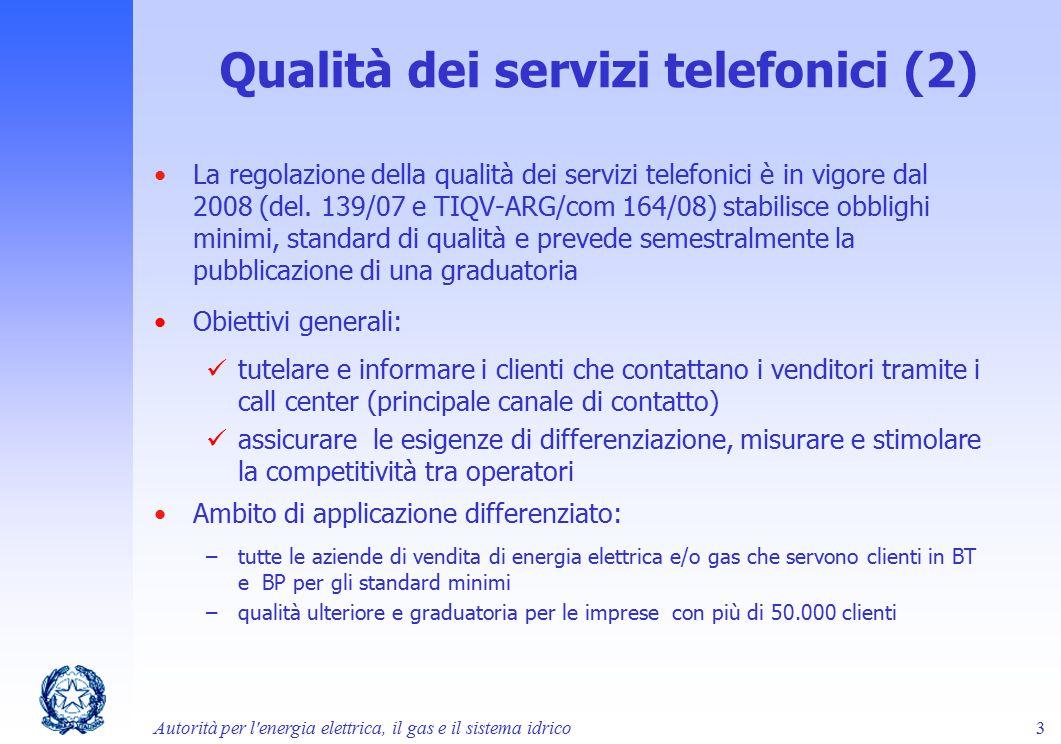 Qualità dei servizi telefonici (2)