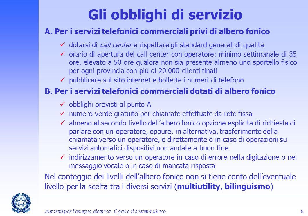 Gli obblighi di servizio