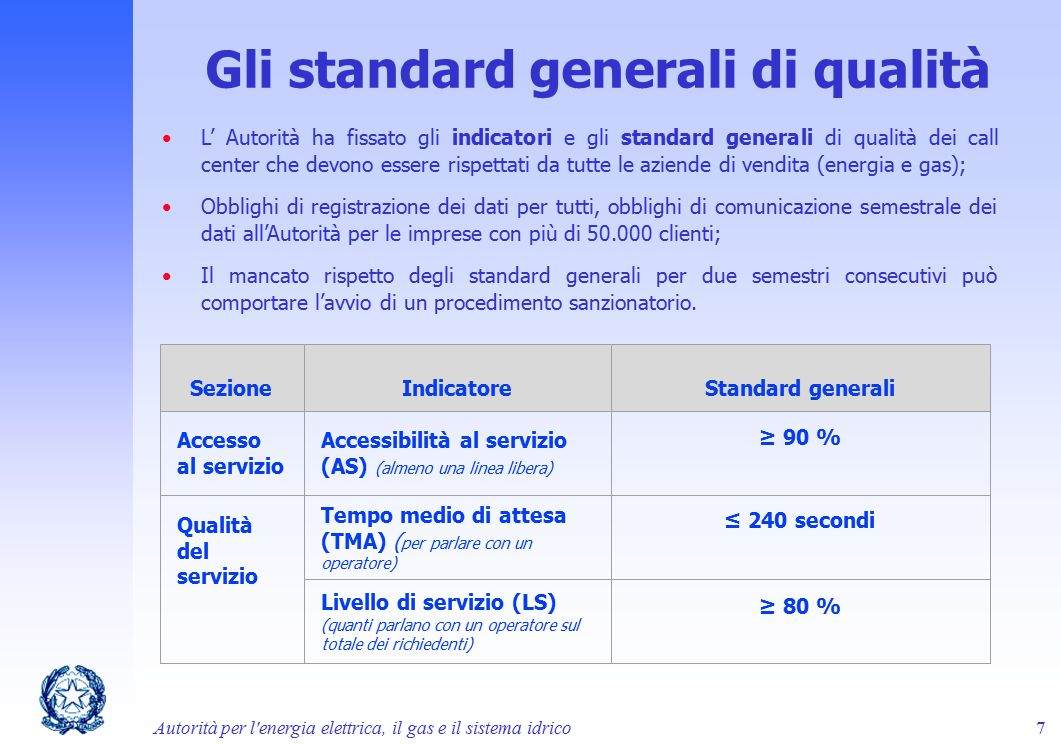 Gli standard generali di qualità