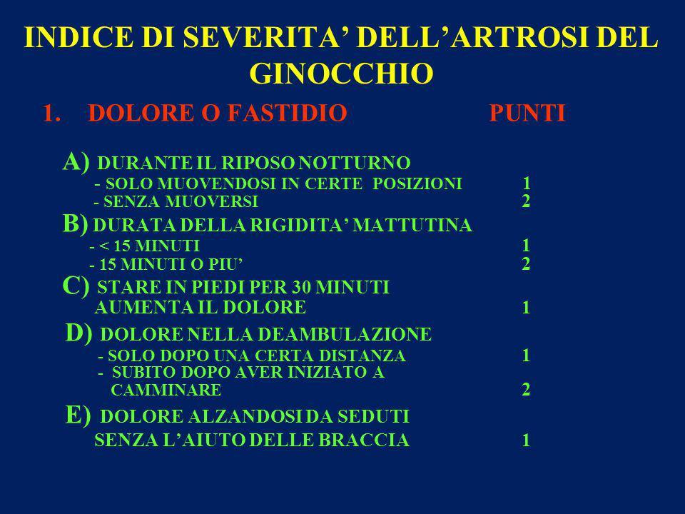 INDICE DI SEVERITA' DELL'ARTROSI DEL GINOCCHIO