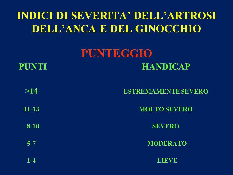 INDICI DI SEVERITA' DELL'ARTROSI DELL'ANCA E DEL GINOCCHIO