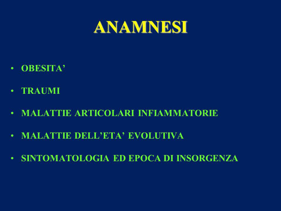 ANAMNESI OBESITA' TRAUMI MALATTIE ARTICOLARI INFIAMMATORIE