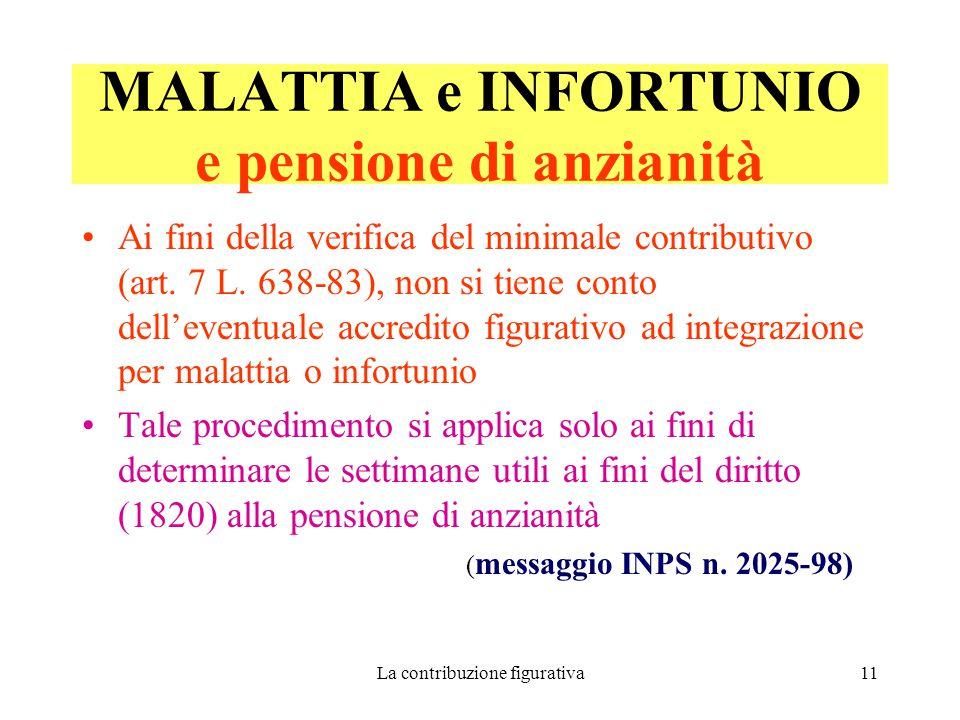 MALATTIA e INFORTUNIO e pensione di anzianità