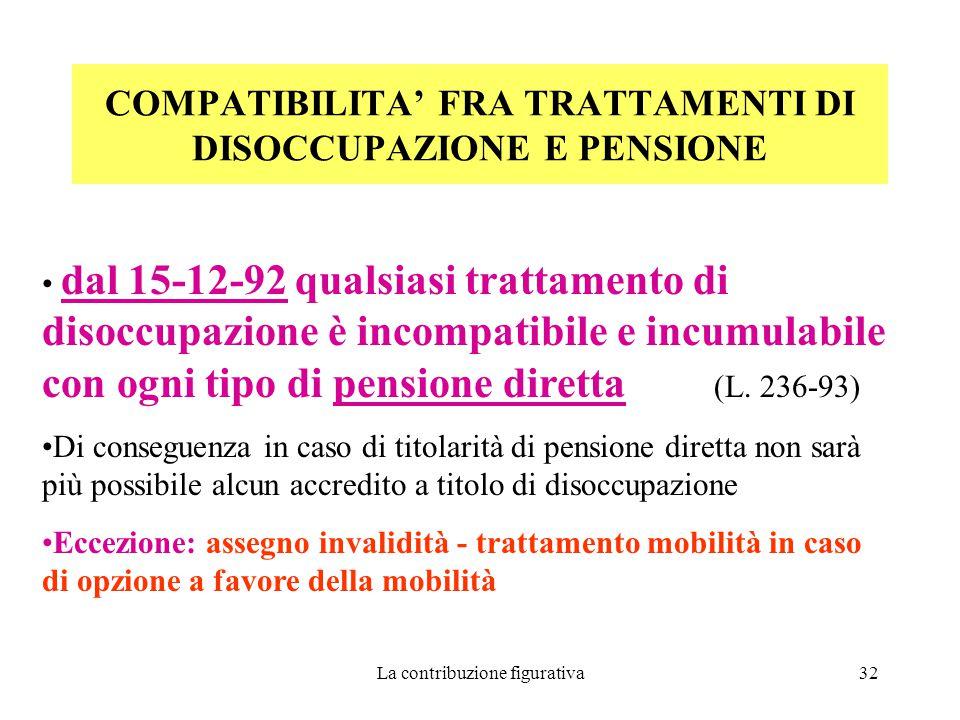COMPATIBILITA' FRA TRATTAMENTI DI DISOCCUPAZIONE E PENSIONE
