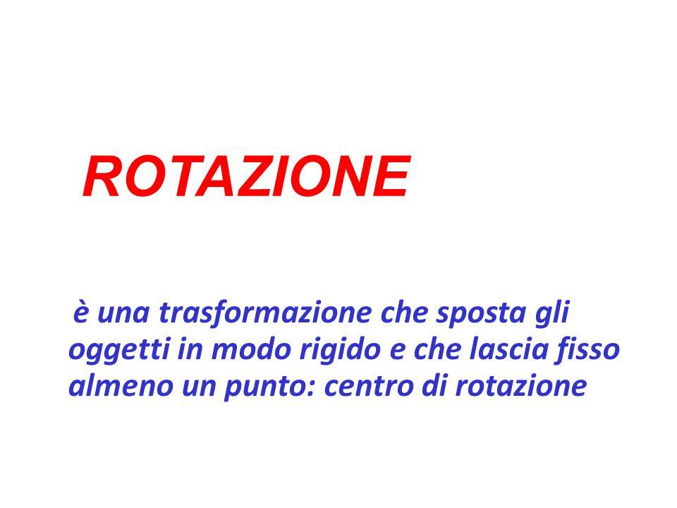 ROTAZIONE è una trasformazione che sposta gli oggetti in modo rigido e che lascia fisso almeno un punto: centro di rotazione.