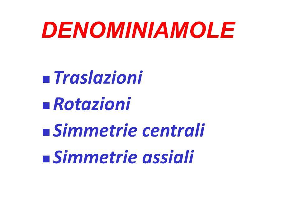 DENOMINIAMOLE Traslazioni Rotazioni Simmetrie centrali