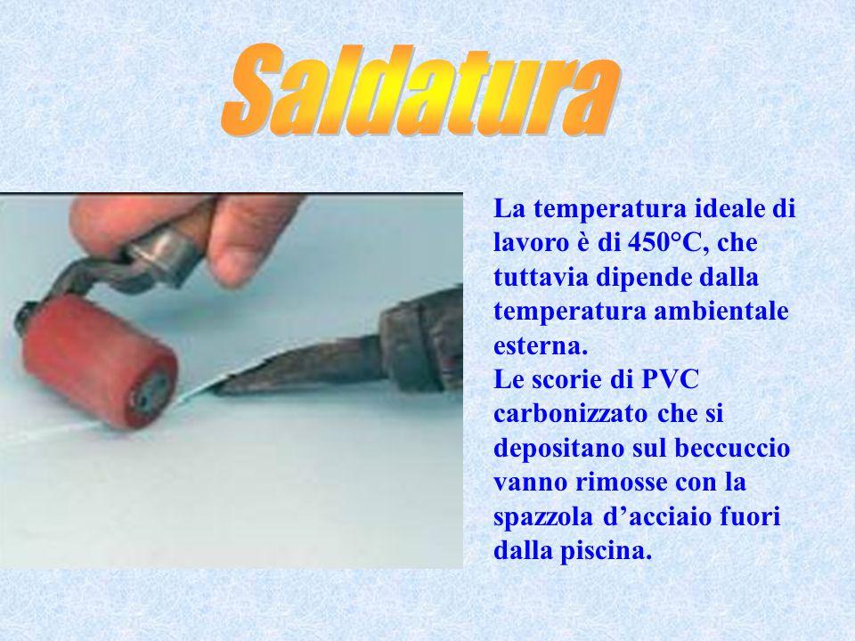 Saldatura La temperatura ideale di lavoro è di 450°C, che tuttavia dipende dalla temperatura ambientale esterna.