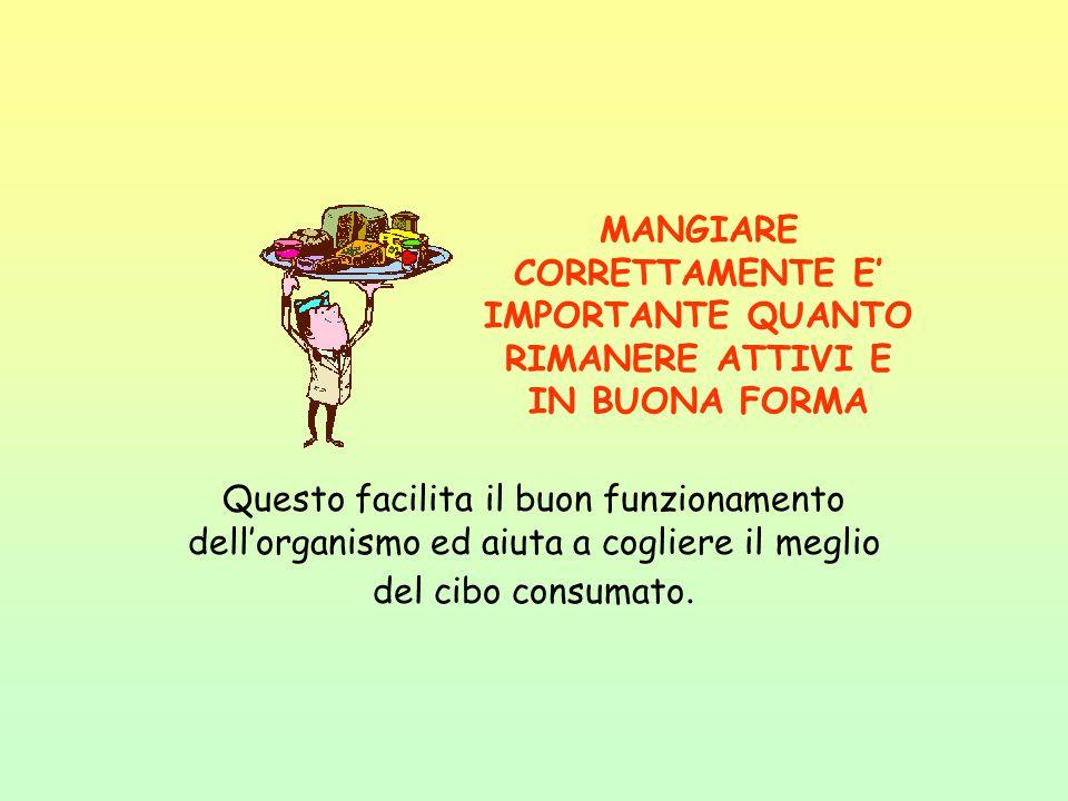 MANGIARE CORRETTAMENTE E' IMPORTANTE QUANTO RIMANERE ATTIVI E IN BUONA FORMA