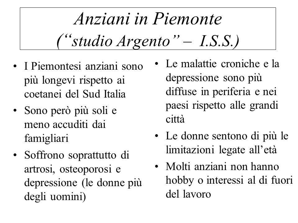 Anziani in Piemonte ( studio Argento – I.S.S.)