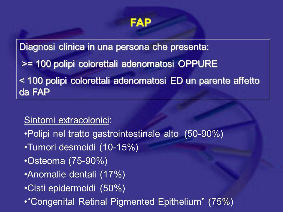 FAP Diagnosi clinica in una persona che presenta: