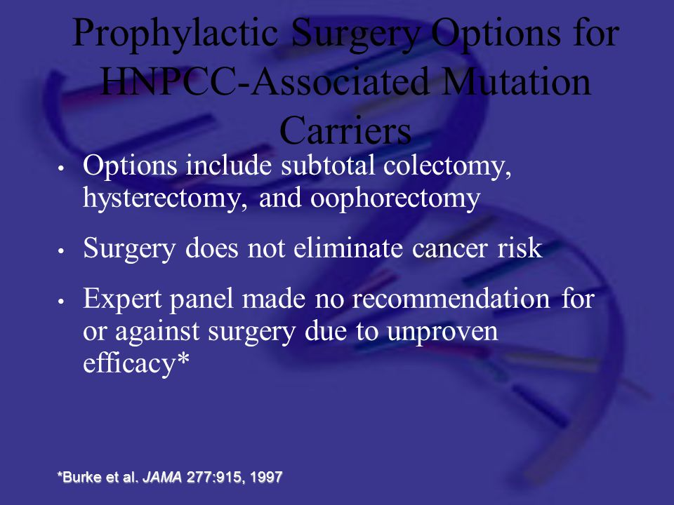 Prophylactic Surgery Options for HNPCC-Associated Mutation Carriers
