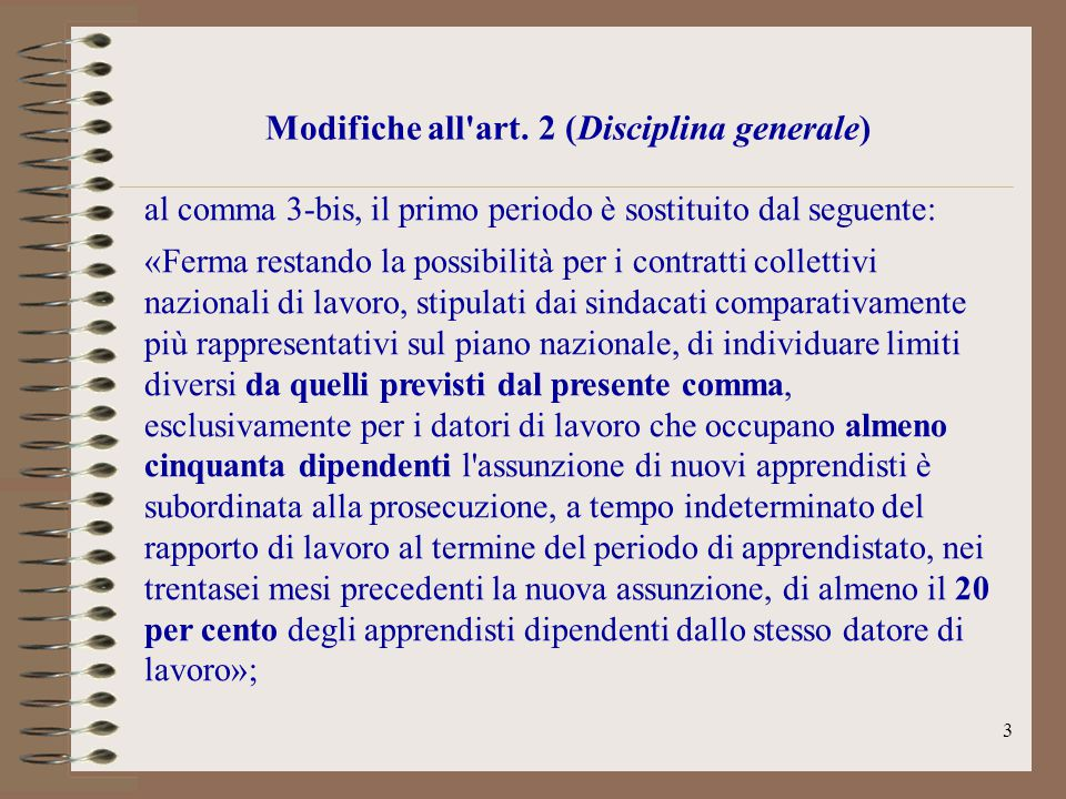 Modifiche all art. 2 (Disciplina generale)