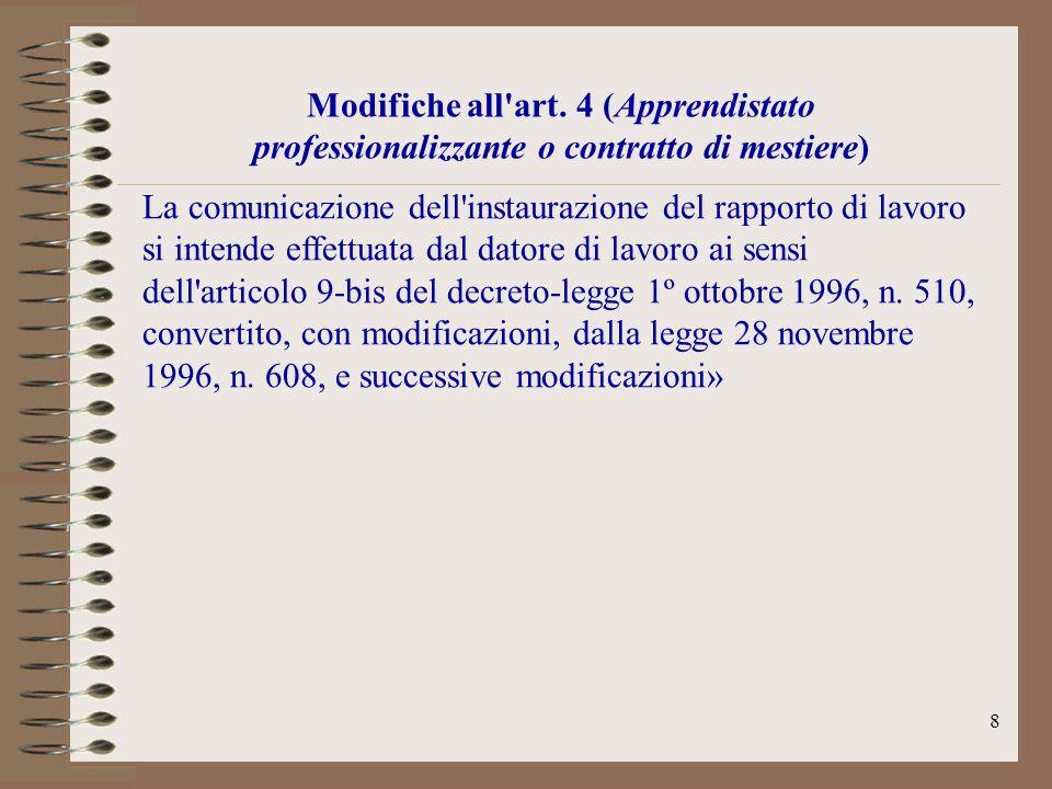 Modifiche all art. 4 (Apprendistato professionalizzante o contratto di mestiere)