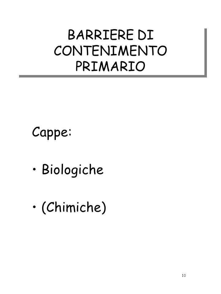 BARRIERE DI CONTENIMENTO PRIMARIO