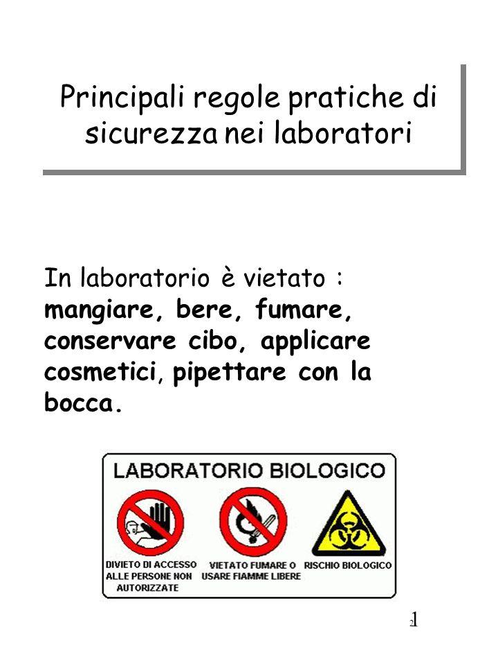 Principali regole pratiche di sicurezza nei laboratori