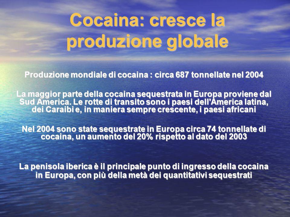 Cocaina: cresce la produzione globale