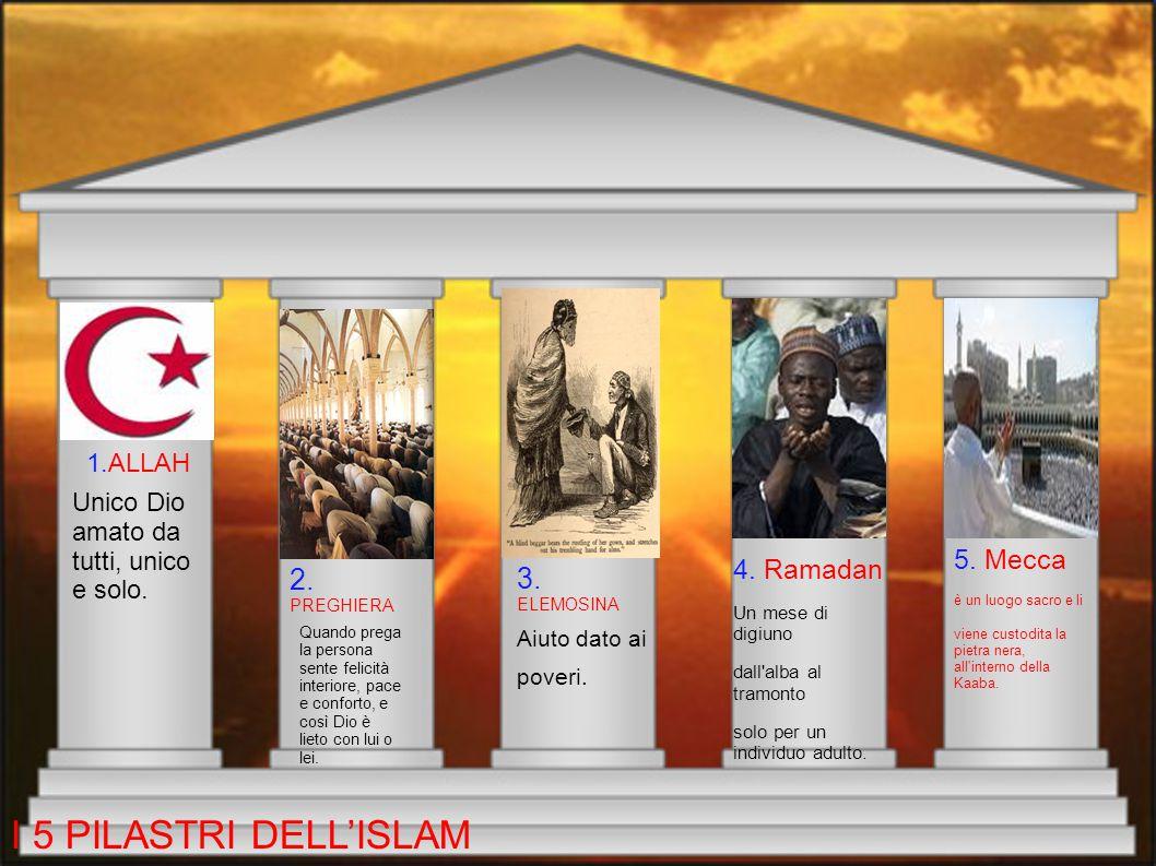 I 5 PILASTRI DELL'ISLAM 2. PREGHIERA 3. ELEMOSINA 5. Mecca 4. Ramadan
