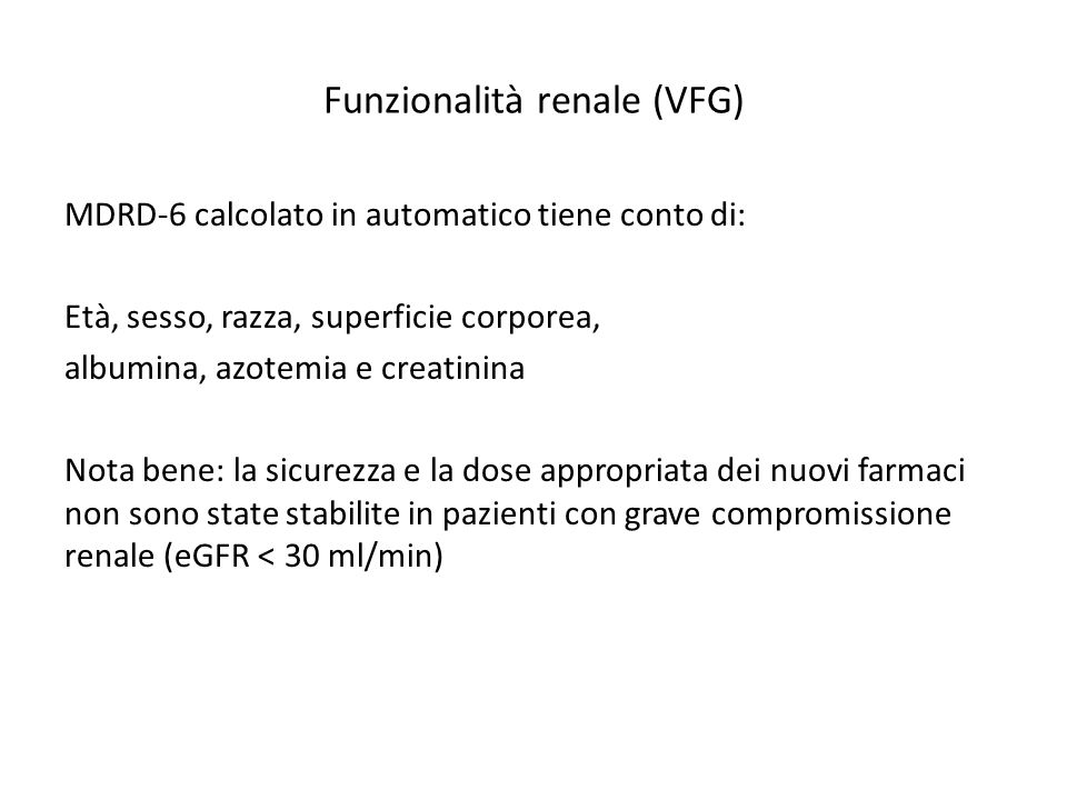 Funzionalità renale (VFG)