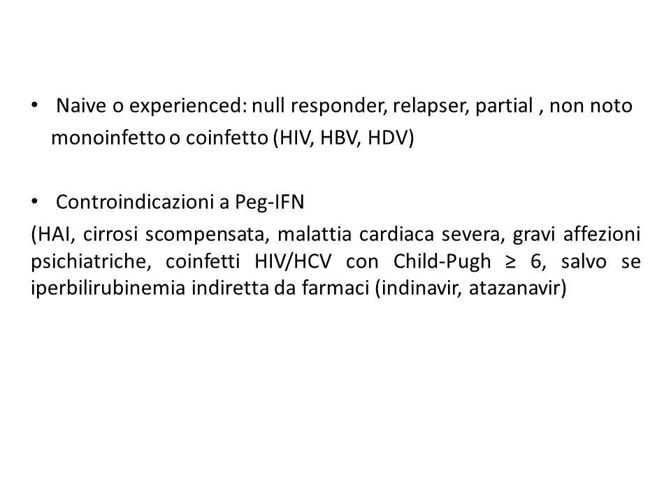 Naive o experienced: null responder, relapser, partial , non noto