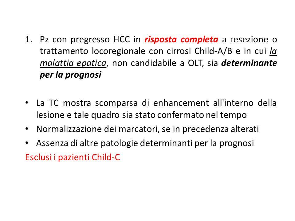 Pz con pregresso HCC in risposta completa a resezione o trattamento locoregionale con cirrosi Child-A/B e in cui la malattia epatica, non candidabile a OLT, sia determinante per la prognosi