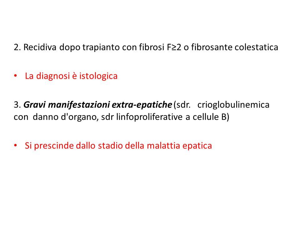 2. Recidiva dopo trapianto con fibrosi F≥2 o fibrosante colestatica