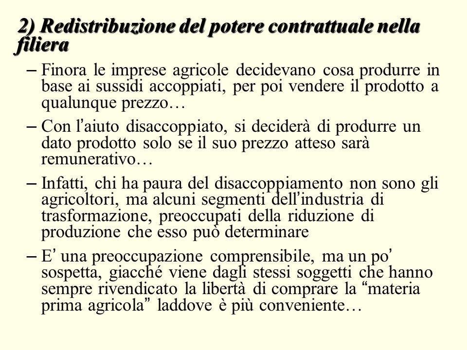2) Redistribuzione del potere contrattuale nella filiera