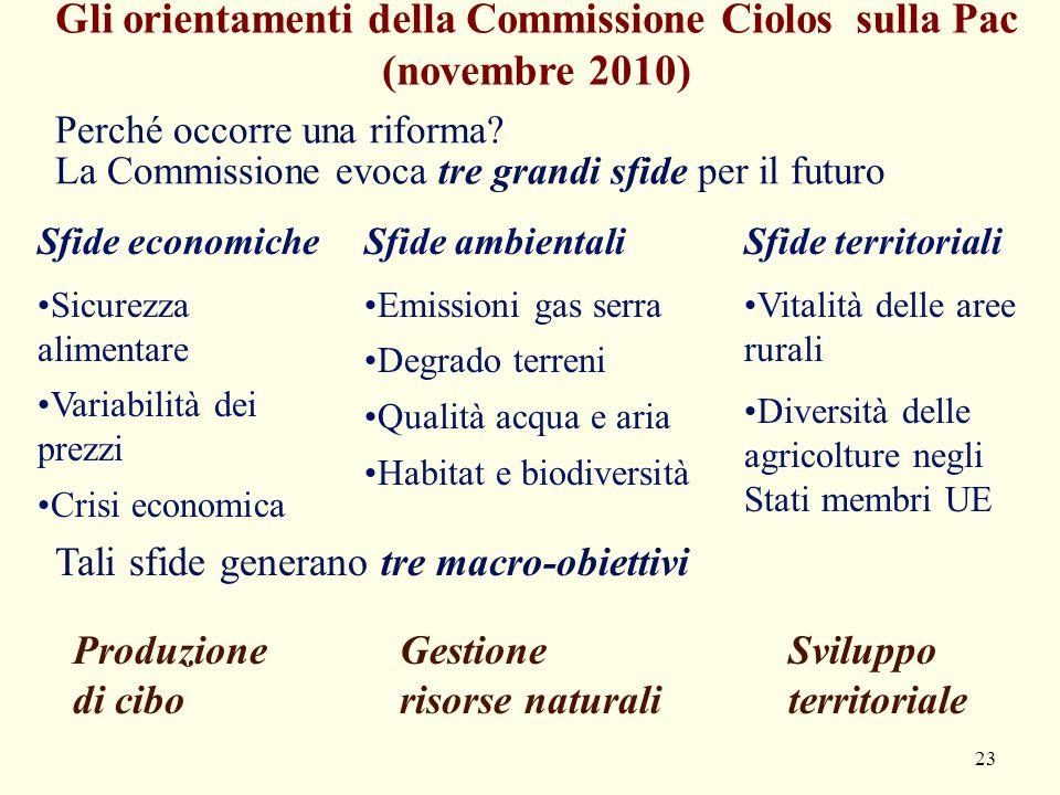 Gli orientamenti della Commissione Ciolos sulla Pac (novembre 2010)