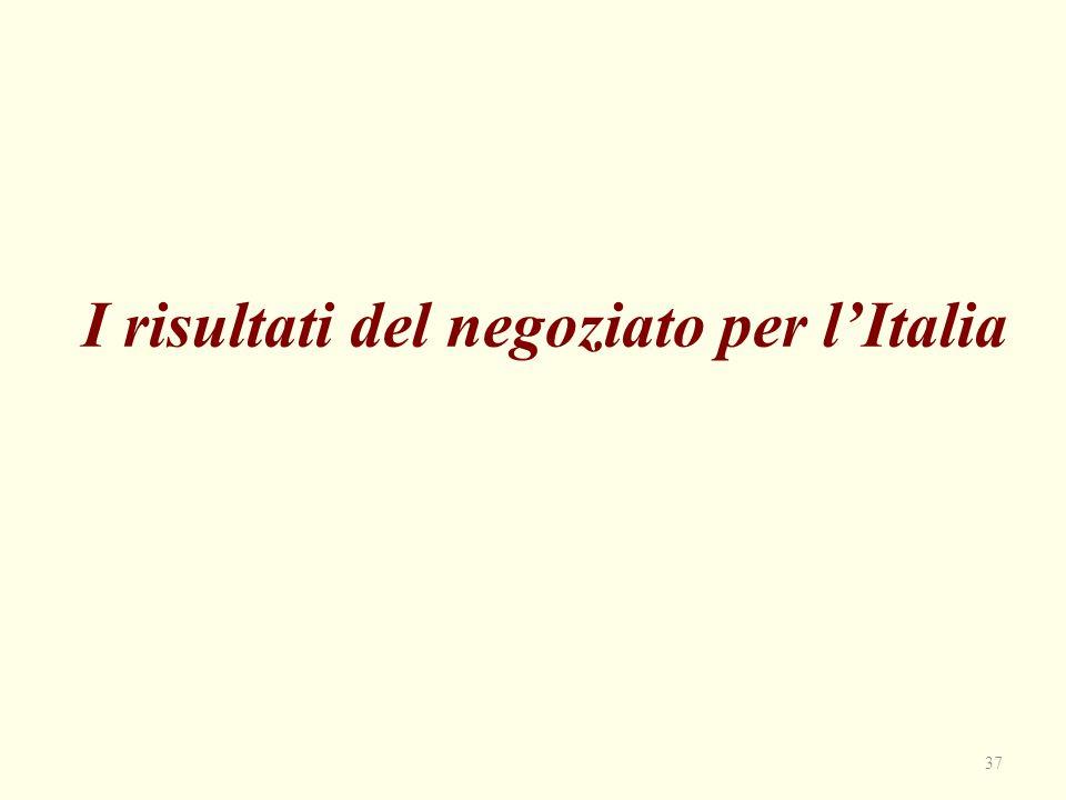 I risultati del negoziato per l'Italia