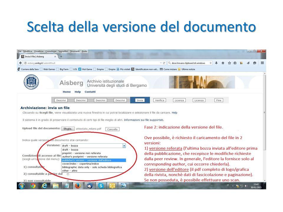 Scelta della versione del documento