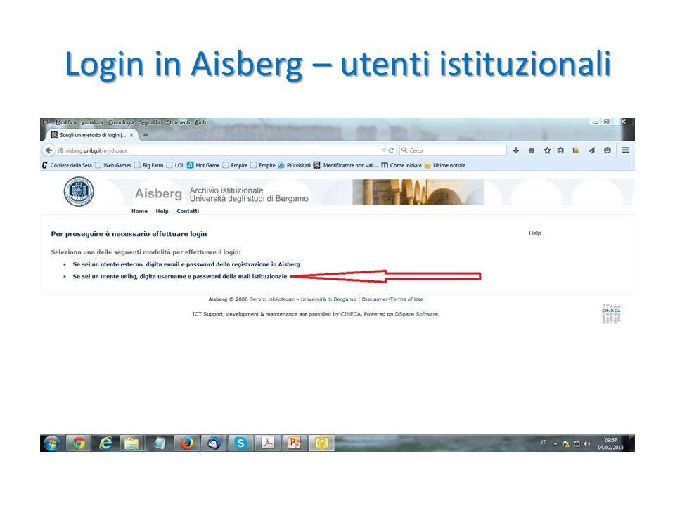 Login in Aisberg – utenti istituzionali