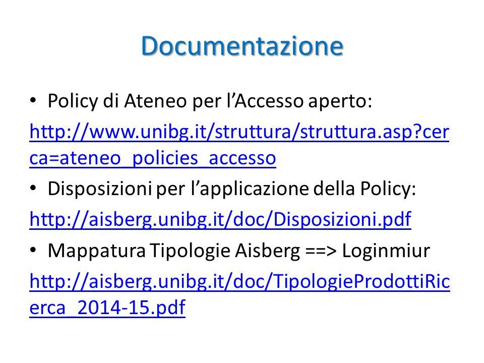 Documentazione Policy di Ateneo per l'Accesso aperto: