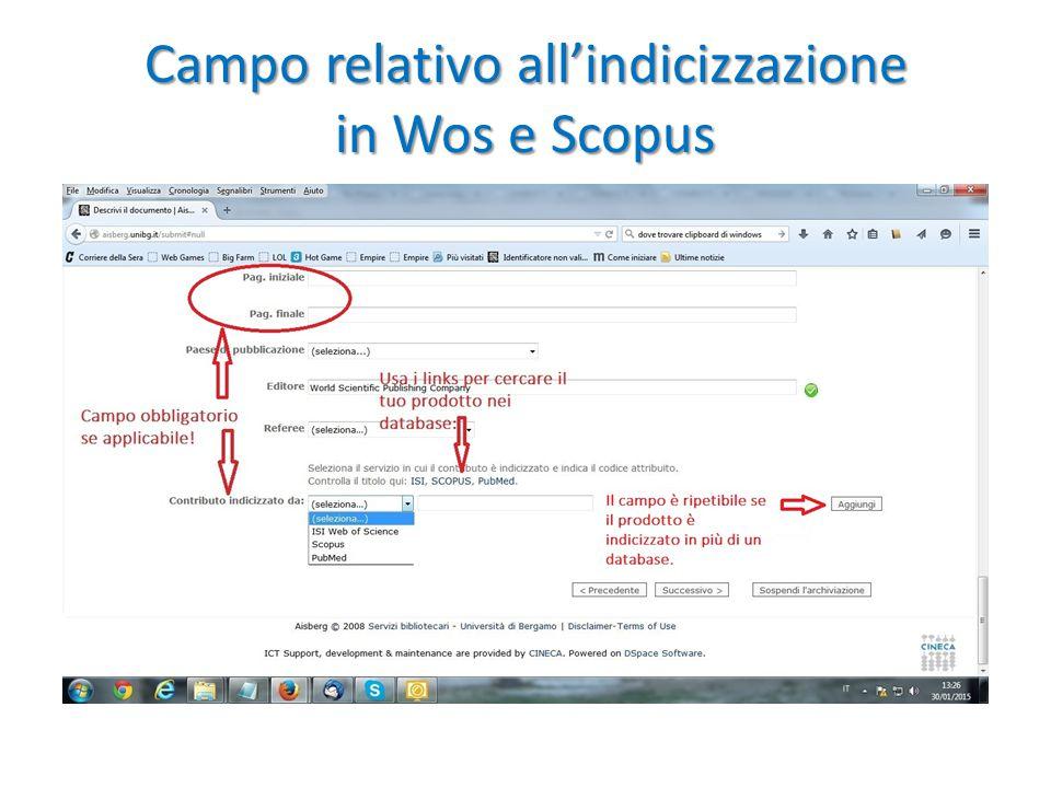 Campo relativo all'indicizzazione in Wos e Scopus