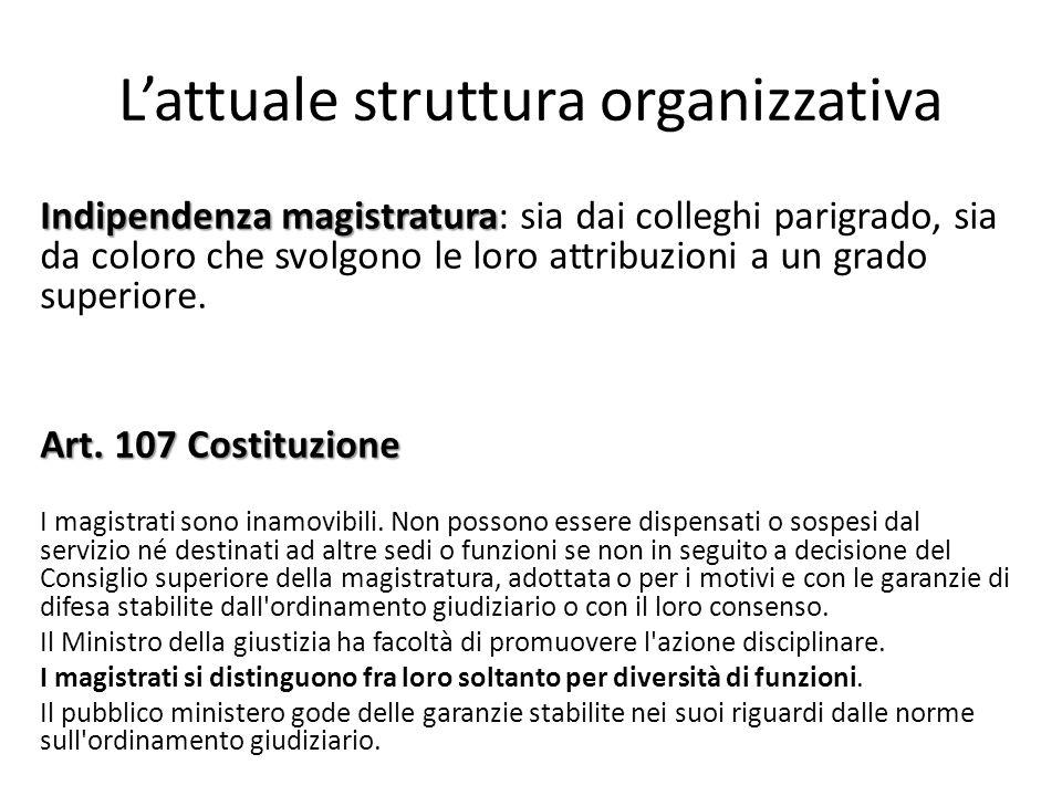 L'attuale struttura organizzativa